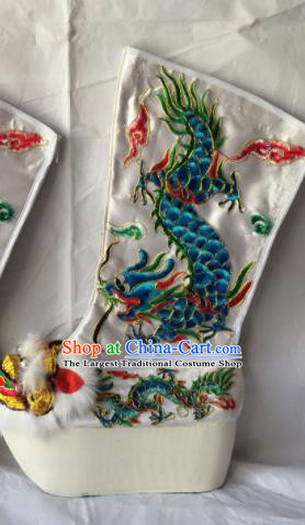 Chinese Beijing Opera Emperor White Boots Traditional Peking Opera Takefu Embroidered Shoes for Men