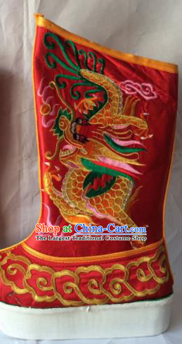 Chinese Beijing Opera Emperor Red Boots Traditional Peking Opera Takefu Embroidered Shoes for Men