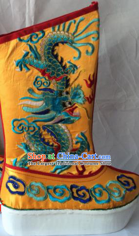 Chinese Beijing Opera Emperor Yellow Boots Traditional Peking Opera Takefu Embroidered Shoes for Men