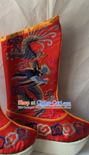 Chinese Beijing Opera Takefu Red Boots Traditional Peking Opera Emperor Embroidered Shoes for Men
