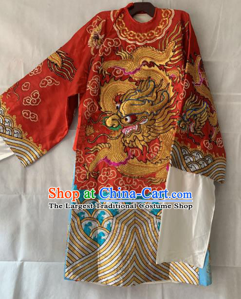 Chinese Beijing Opera Emperor Red Embroidered Robe Traditional Peking Opera General Costume for Men