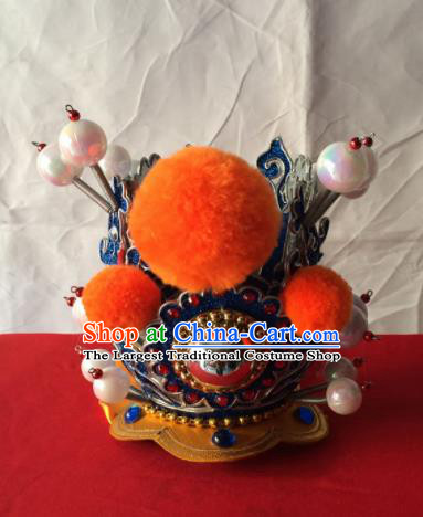 Chinese Beijing Opera Niche Blue Hairdo Crown Traditional Peking Opera Prince Headwear for Men