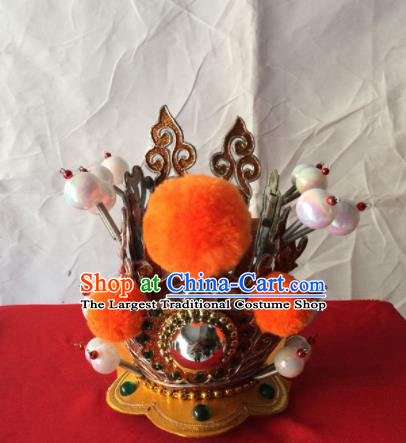 Chinese Beijing Opera Niche Golden Hairdo Crown Traditional Peking Opera Prince Headwear for Men