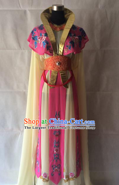 Chinese Beijing Opera Royal Princess Rosy Dress Traditional Peking Opera Empress Costume for Women