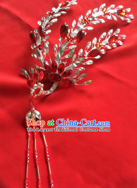 Chinese Beijing Opera Actress Red Phoenix Hairpins Traditional Peking Opera Princess Hair Accessories for Women