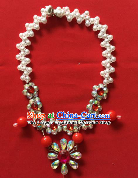 Chinese Beijing Opera Princess Rosy Crystal Necklace Traditional Peking Opera Diva Accessories for Women