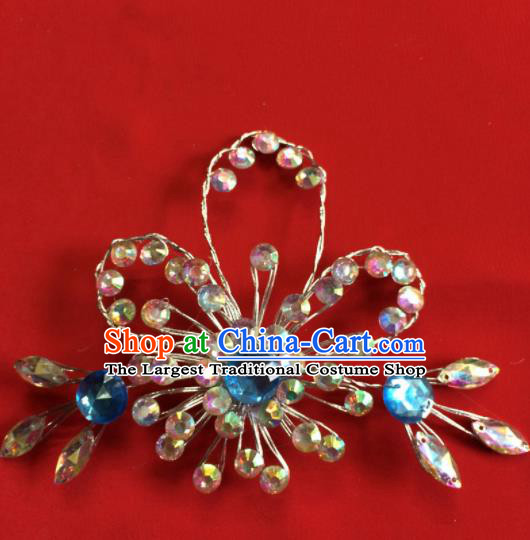 Chinese Beijing Opera Actress Blue Crystal Hair Stick Traditional Peking Opera Princess Hair Accessories for Women