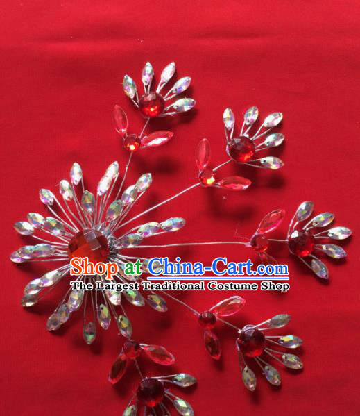 Chinese Beijing Opera Actress Crystal Hair Claw Hairpins Traditional Peking Opera Princess Hair Accessories for Women