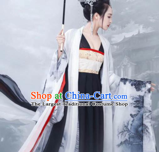 Chinese Ancient Imperial Concubine Black Hanfu Dress Traditional Tang Dynasty Imperial Consort Costumes for Women