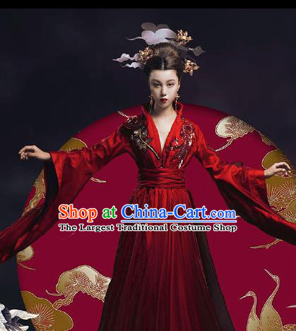 Chinese Ancient Court Queen Red Hanfu Dress Traditional Tang Dynasty Empress Costumes for Women