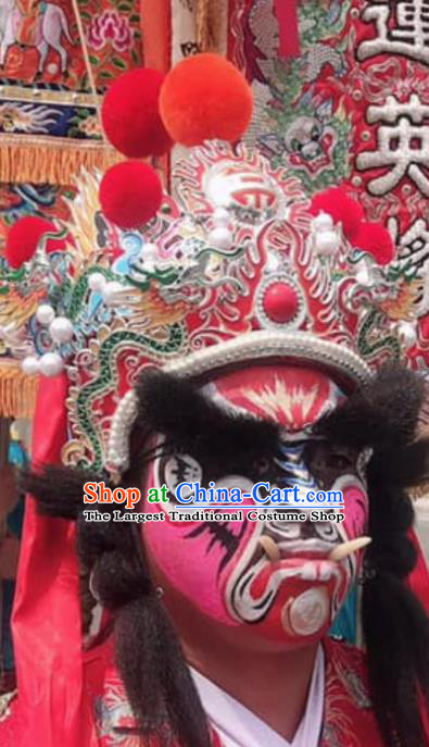 Chinese Sichuan Opera Change Face Red Hat Traditional Peking Opera Hair Accessories for Men
