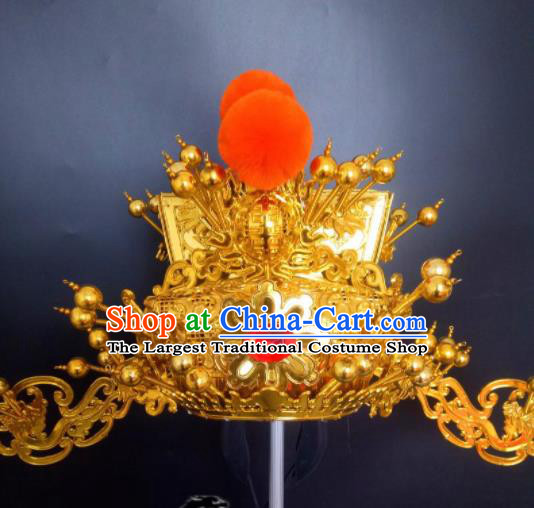 Chinese Beijing Opera Wealth God Golden Hat Traditional Peking Opera Prime Minister Hair Accessories for Men