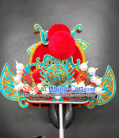 Chinese Beijing Opera Hell God Red Hat Traditional Peking Opera King Hair Accessories for Men