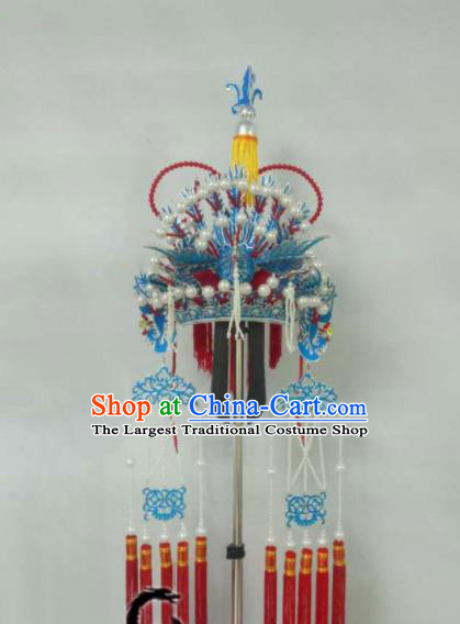 Chinese Beijing Opera Bride Phoenix Coronet Traditional Peking Opera Princess Hat Hair Accessories for Women