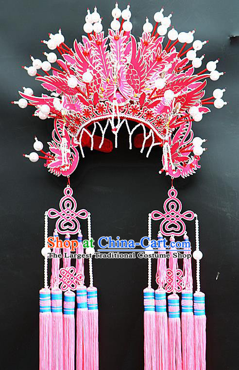 Chinese Beijing Opera Imperial Consort Pink Phoenix Coronet Traditional Peking Opera Bride Hat Hair Accessories for Women