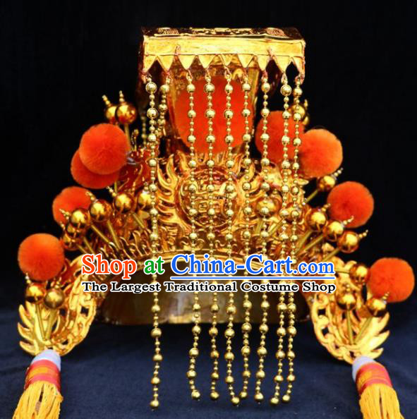 Chinese Beijing Opera God Hat Traditional Peking Opera Emperor Hair Accessories for Men