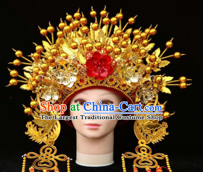 Chinese Beijing Opera Golden Phoenix Coronet Traditional Peking Opera Bride Hat Hair Accessories for Women