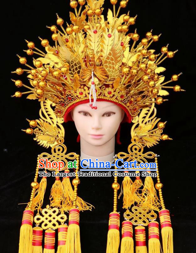 Chinese Beijing Opera Diva Golden Phoenix Coronet Traditional Peking Opera Bride Hat Hair Accessories for Women