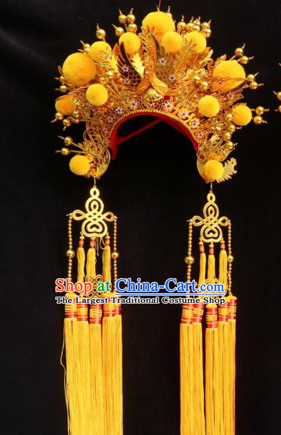 Chinese Beijing Opera Princess Golden Phoenix Coronet Traditional Peking Opera Bride Hat Hair Accessories for Women