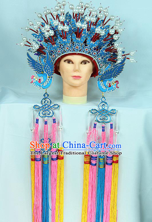 Chinese Beijing Opera Queen Phoenix Coronet Traditional Peking Opera Bride Hat Hair Accessories for Women
