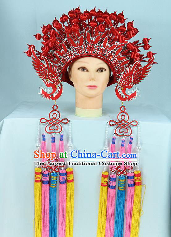 Chinese Beijing Opera Queen Red Butterfly Phoenix Coronet Traditional Peking Opera Bride Hat Hair Accessories for Women