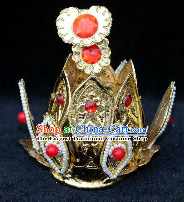 Chinese Beijing Opera Prince Golden Hairdo Crown Traditional Peking Opera Taoist Headwear for Men