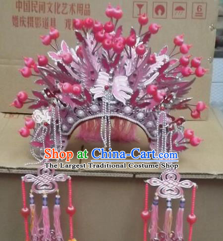 Chinese Beijing Opera Pink Tassel Phoenix Coronet Traditional Peking Opera Bride Hat Hair Accessories for Women