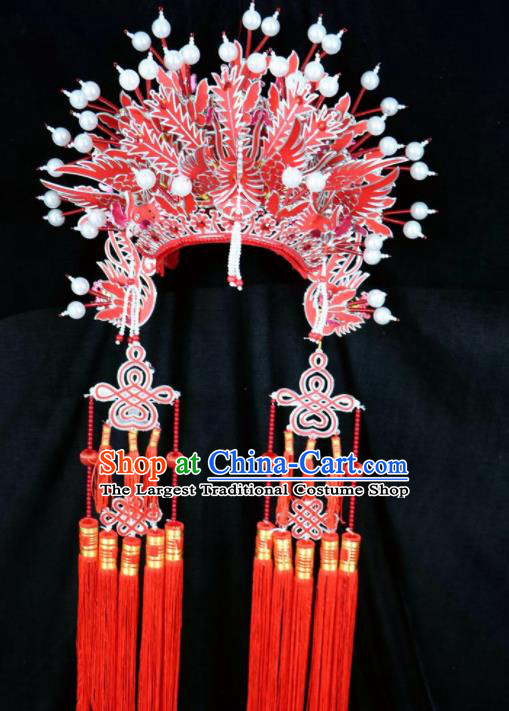 Chinese Beijing Opera Red Tassel Phoenix Coronet Traditional Peking Opera Bride Hat Hair Accessories for Women