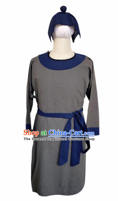 Chinese Ancient Civilian Grey Robe Traditional Ming Dynasty Teahouse Waiter Costume for Men