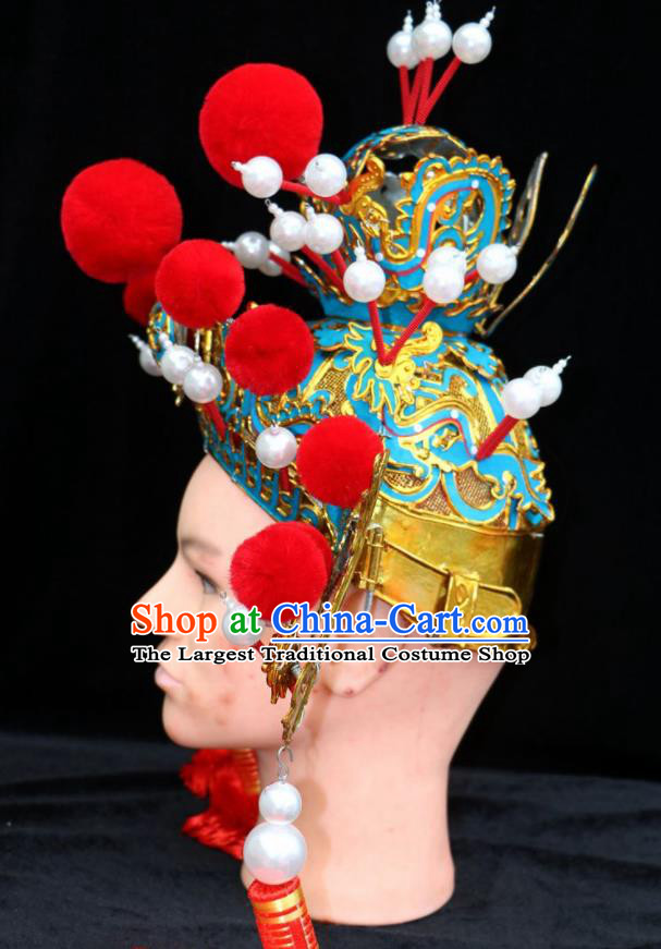 Chinese Beijing Opera Crown Prince Hat Traditional Peking Opera Emperor Hair Accessories for Men