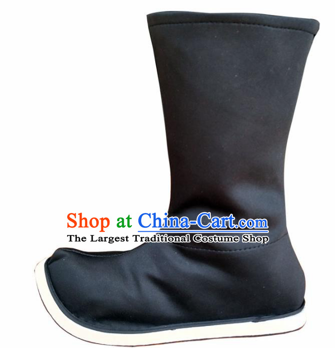 Chinese Ancient Swordsman Black Boots Traditional Ming Dynasty Imperial Guards Shoes for Men
