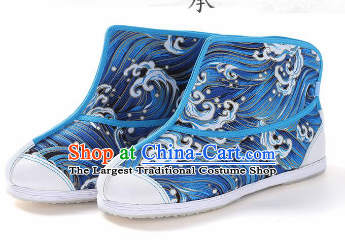 Chinese Traditional Handmade Blue Boots National Multi Layered Cloth Shoes for Men