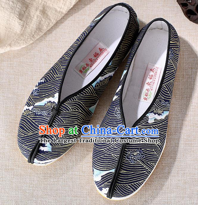 Chinese Traditional Handmade Navy Cloth Shoes National Multi Layered Cloth Shoes for Men