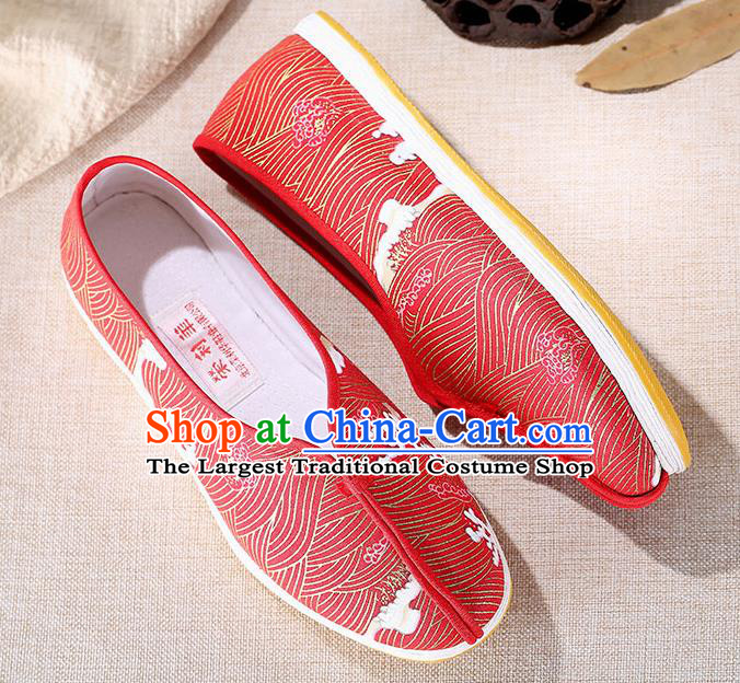 Chinese Traditional Handmade Red Cloth Shoes National Multi Layered Cloth Shoes for Men