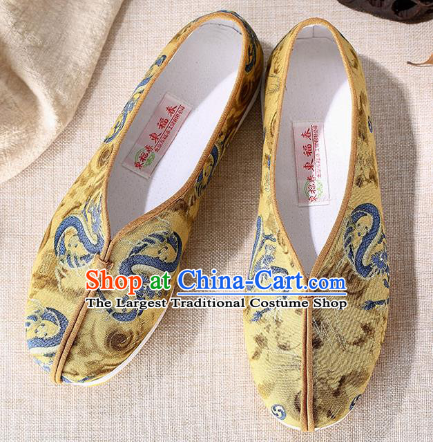 Chinese Traditional Handmade Embroidered Dragon Yellow Cloth Shoes National Multi Layered Cloth Shoes for Men