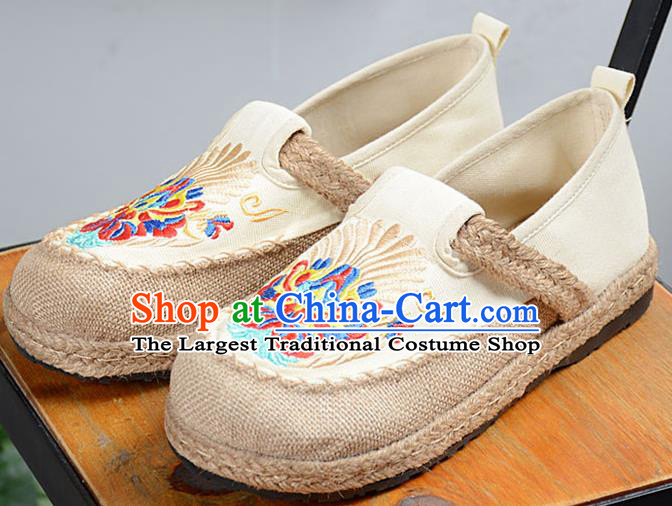 Chinese Traditional Handmade Embroidered Beige Flax Shoes National Multi Layered Cloth Shoes for Men