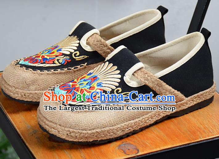 Chinese Traditional Handmade Embroidered Black Flax Shoes National Multi Layered Cloth Shoes for Men