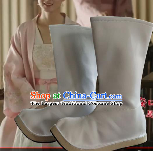 Chinese Ancient Swordsman White Boots Traditional Ming Dynasty Imperial Guards Shoes for Men