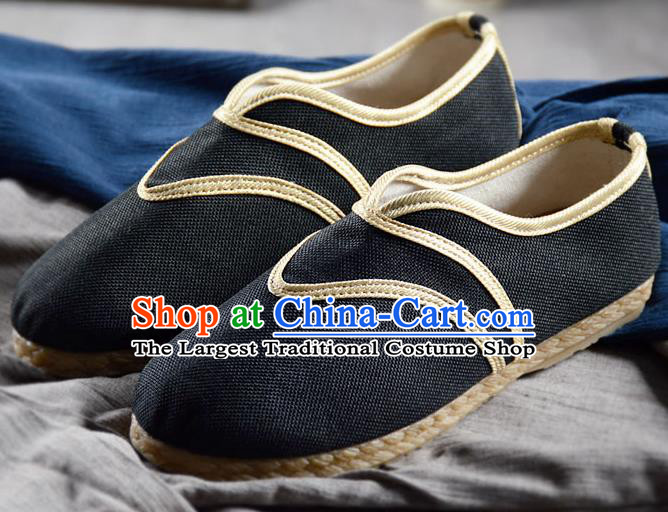 Chinese Traditional Handmade Black Flax Shoes National Multi Layered Cloth Shoes for Men