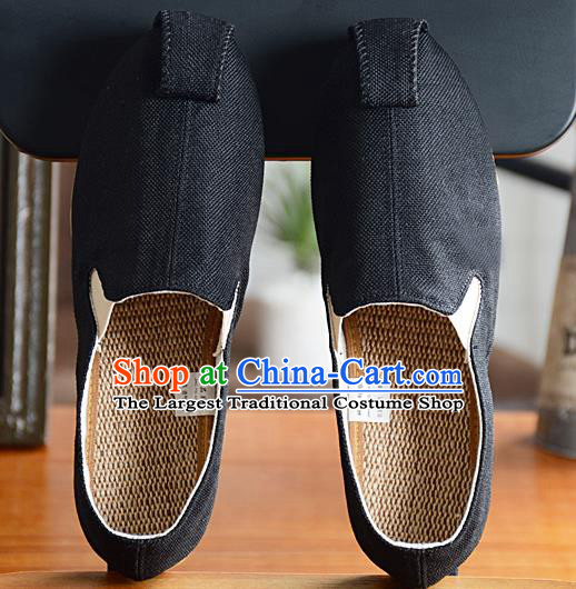 Traditional Chinese Handmade Flax Black Shoes National Multi Layered Cloth Shoes for Men