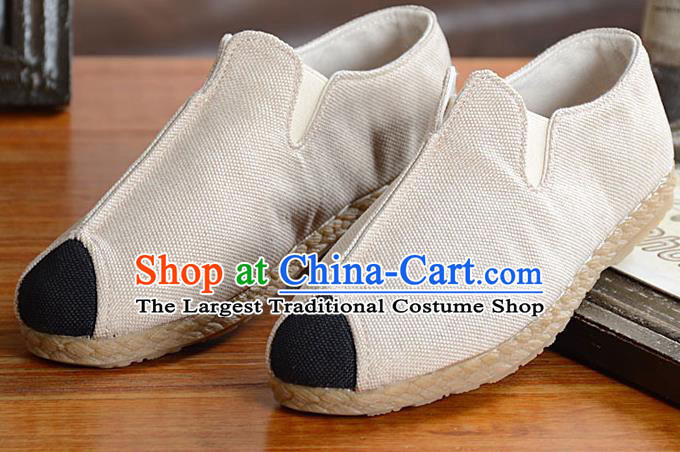 Traditional Chinese Martial Arts Shoes Handmade White Flax Shoes National Multi Layered Cloth Shoes for Men