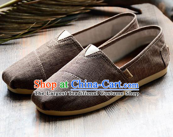 Traditional Chinese Martial Arts Shoes Handmade Brown Flax Shoes National Multi Layered Cloth Shoes for Men