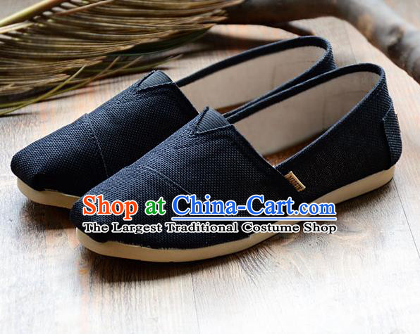 Traditional Chinese Martial Arts Shoes Handmade Navy Flax Shoes National Multi Layered Cloth Shoes for Men