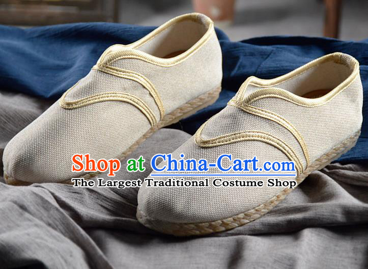 Chinese Traditional Handmade White Flax Shoes National Multi Layered Cloth Shoes for Men