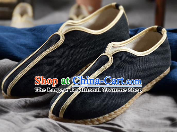 Traditional Chinese Handmade Black Flax Shoes National Multi Layered Cloth Shoes for Men