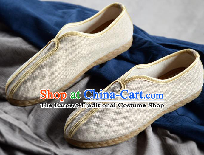 Traditional Chinese Handmade White Flax Shoes National Multi Layered Cloth Shoes for Men