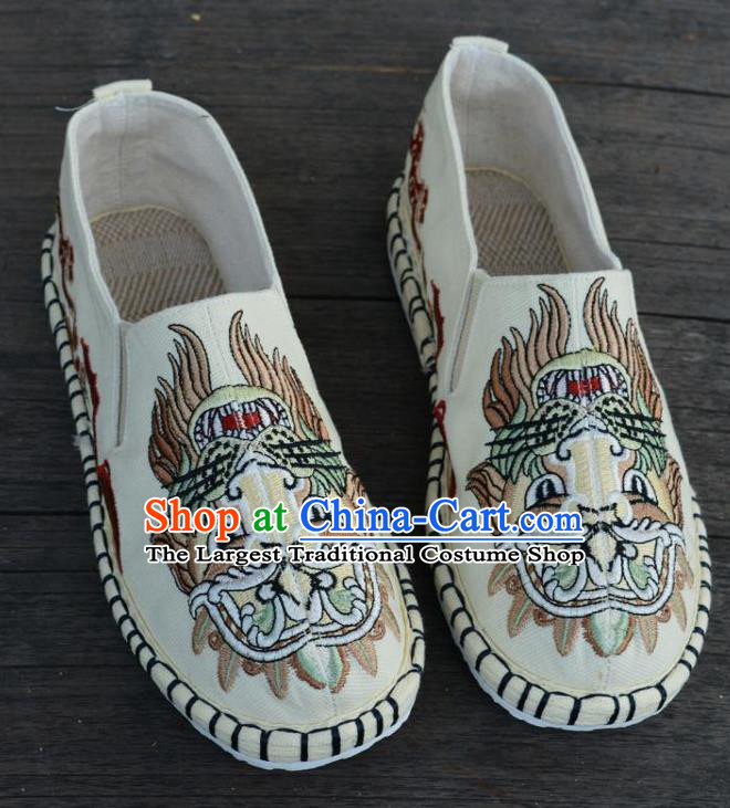 Traditional Chinese Martial Arts Embroidered Lion Shoes Handmade White Flax Shoes National Multi Layered Cloth Shoes for Men