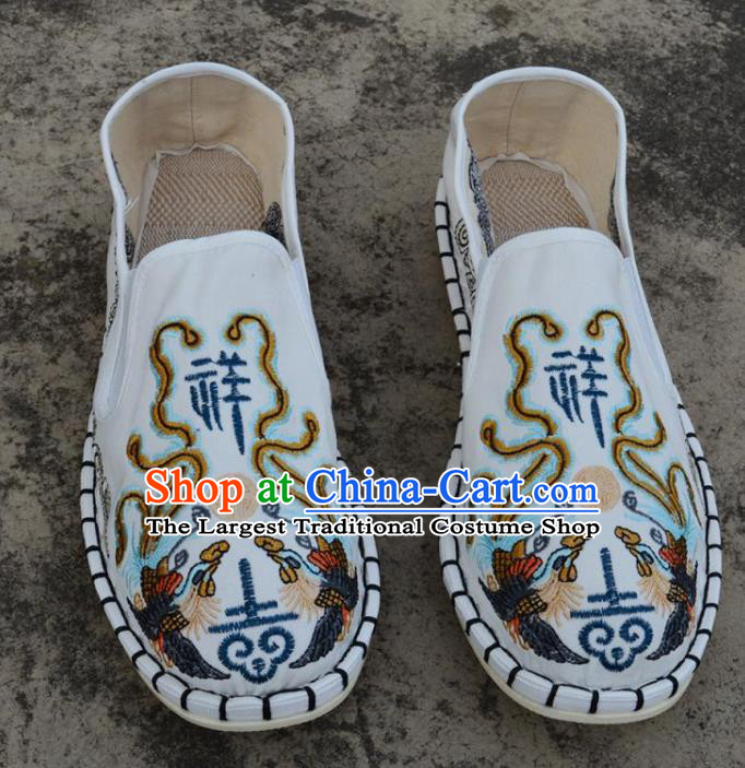 Traditional Chinese Embroidered Phoenix White Shoes Handmade Flax Shoes National Multi Layered Cloth Shoes for Men