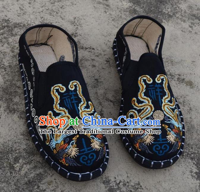 Traditional Chinese Embroidered Phoenix Black Shoes Handmade Flax Shoes National Multi Layered Cloth Shoes for Men