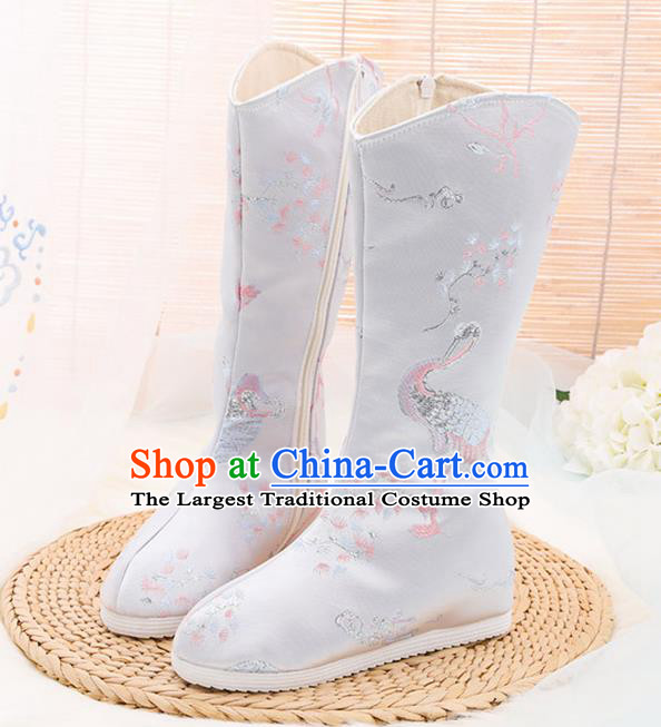 Traditional Chinese Embroidered Crane White Boots Handmade Cloth Shoes National Cloth Shoes for Women